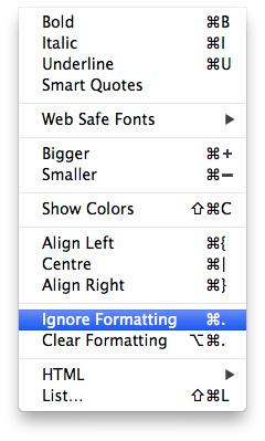 RapidWeaver ignore formatting