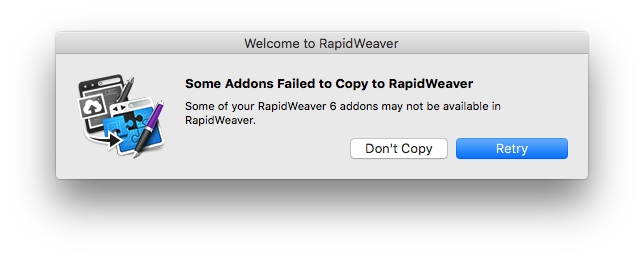 Failed RapidWeaver addon copying