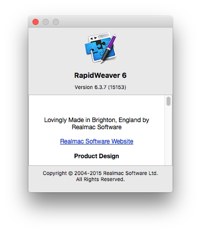 RapidWeaver version