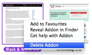 Deleting a RapidWeaver addon