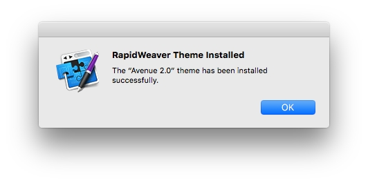 RapidWeaver theme installed