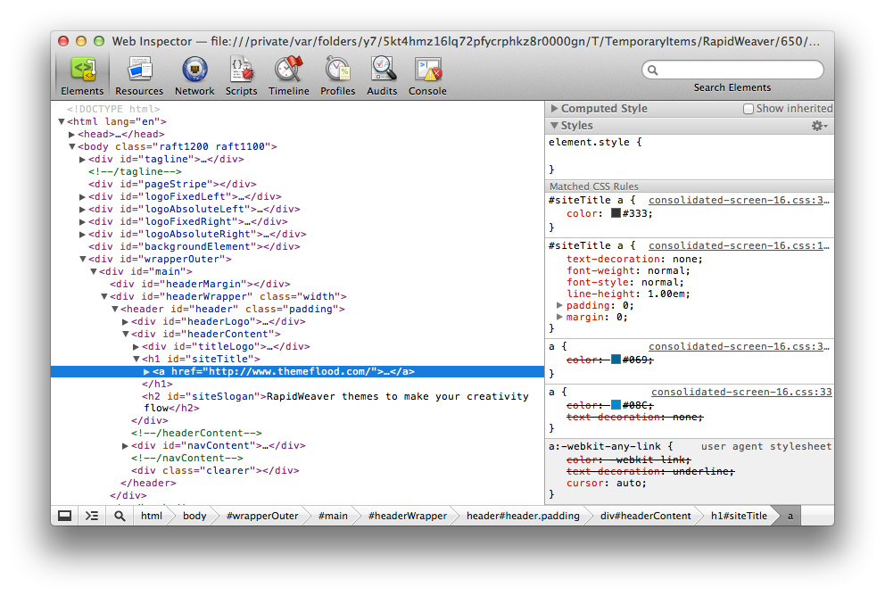 The web inspector
